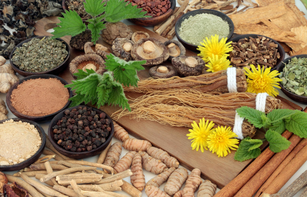 Nootropics and adaptogens on table