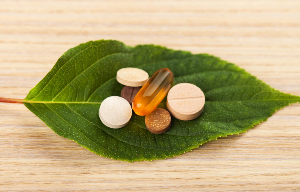 Brain health  supplement pills on leaf