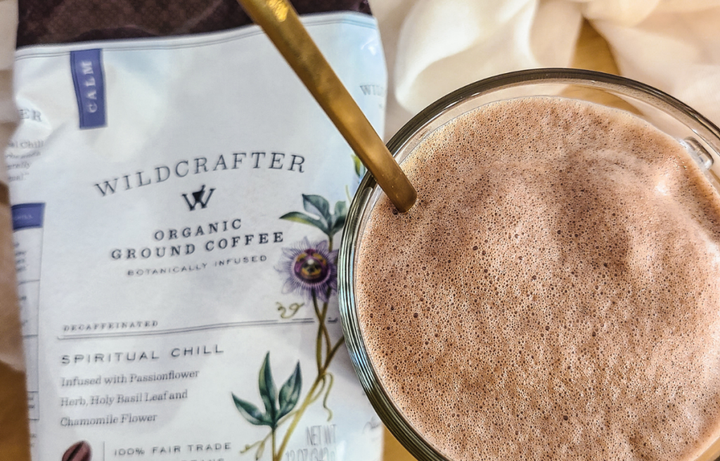 Wildcrafter Spiritual Chill Coffee bag and prepared healthy chocolate coffee
